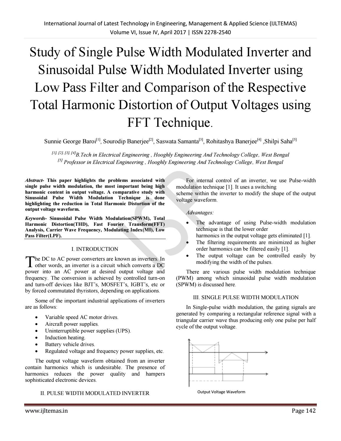 Study Of Single Pulse Width Modulated Inverter And Sinusoidal Is A Circuit To Control Motor Speed Uses Modulation Pwm Using L By International Journal Latest Technology In