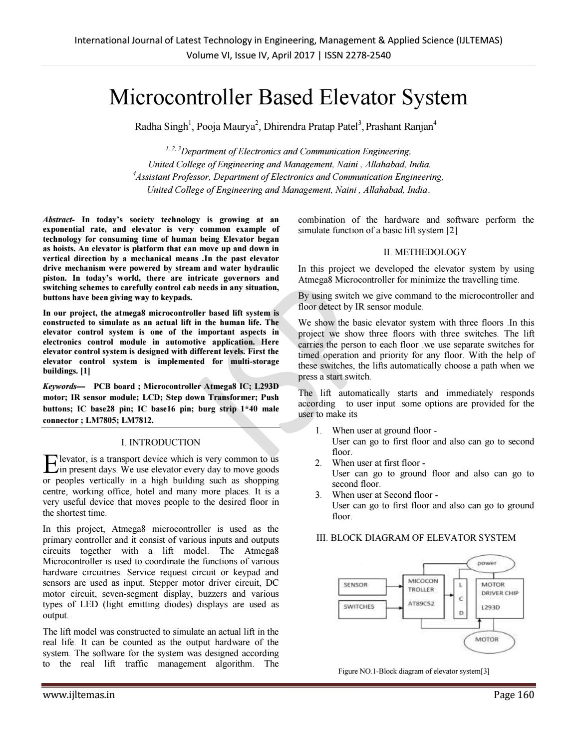 Microcontroller Based Elevator System By International Journal Of Block Diagram Generator Control Latest Technology In Engineering Management Applied Science Issuu