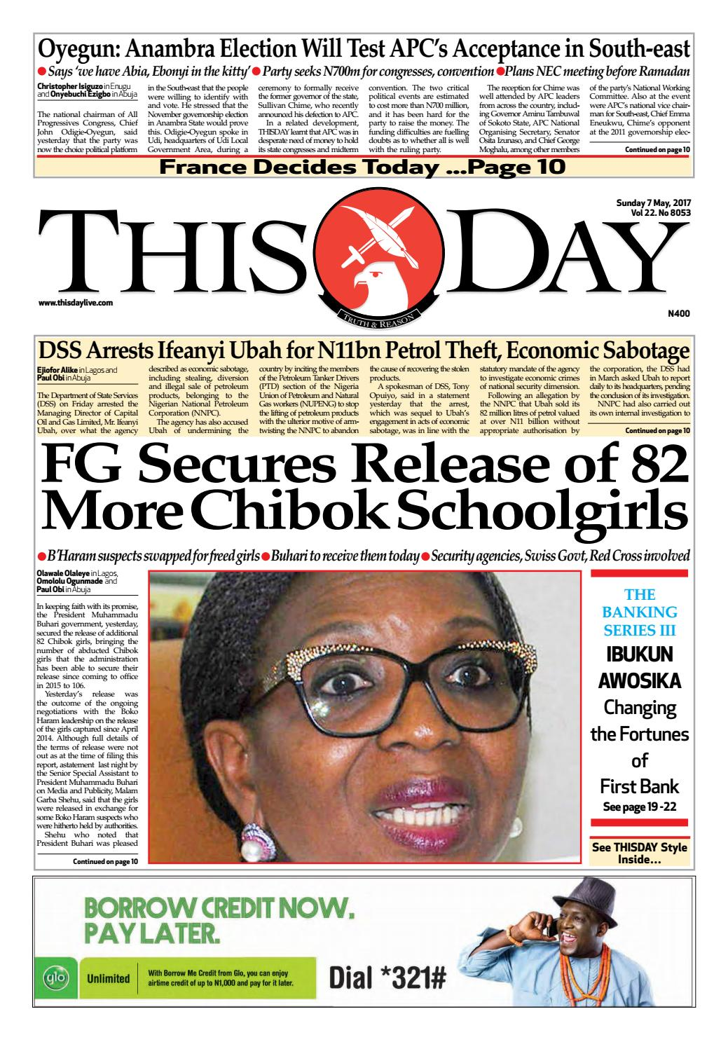 95119471f2 Sunday 7th May 2017 by THISDAY Newspapers Ltd - issuu