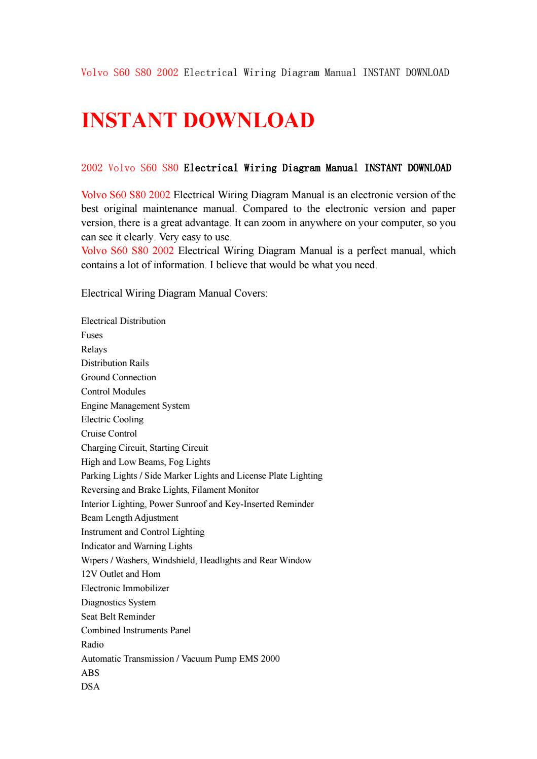 Volvo S60 S80 2002 Electrical Wiring Diagram Manual Instant Download Overall By Kjsjenfnsef Issuu