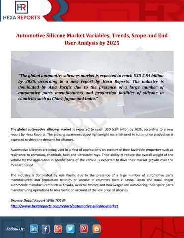 Automotive silicone market variables, trends, scope and end user
