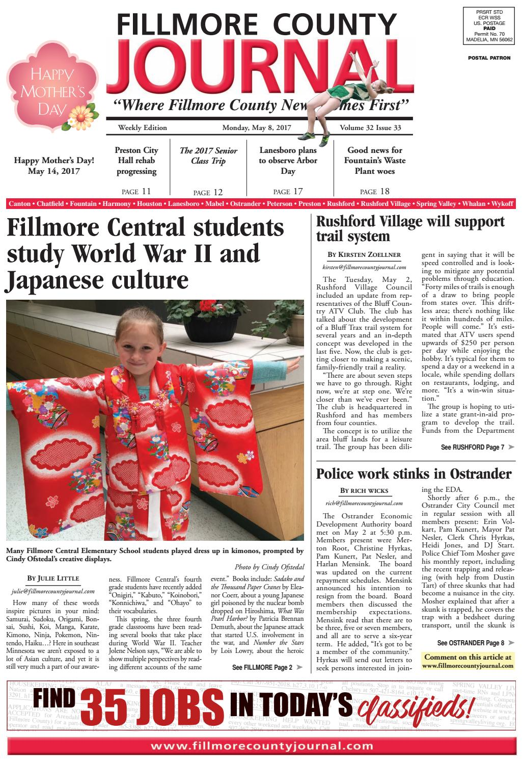 Fillmore County Journal - 5.8.17 by Jason Sethre - issuu