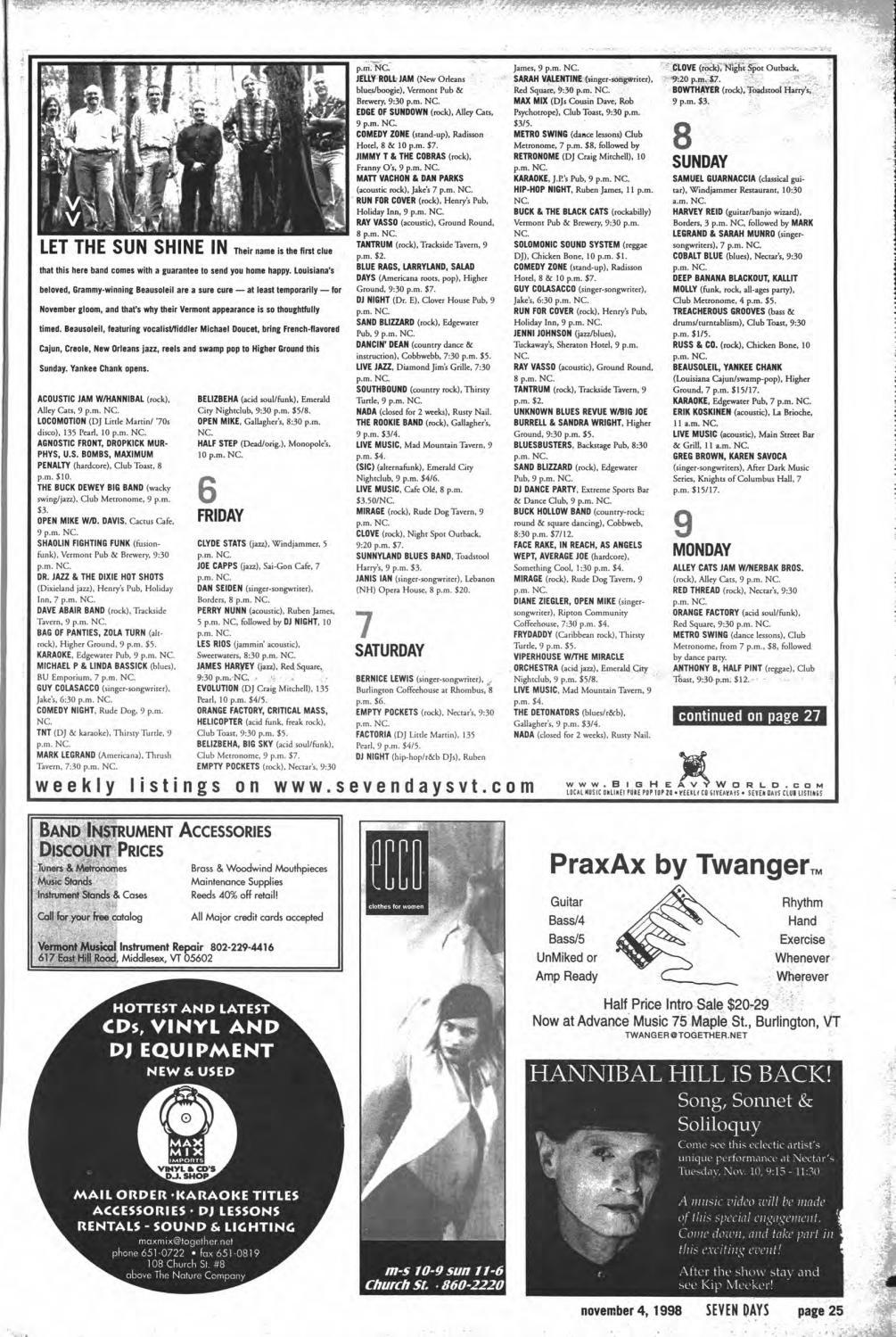 Seven Days, November 4, 1998 by Seven Days - issuu