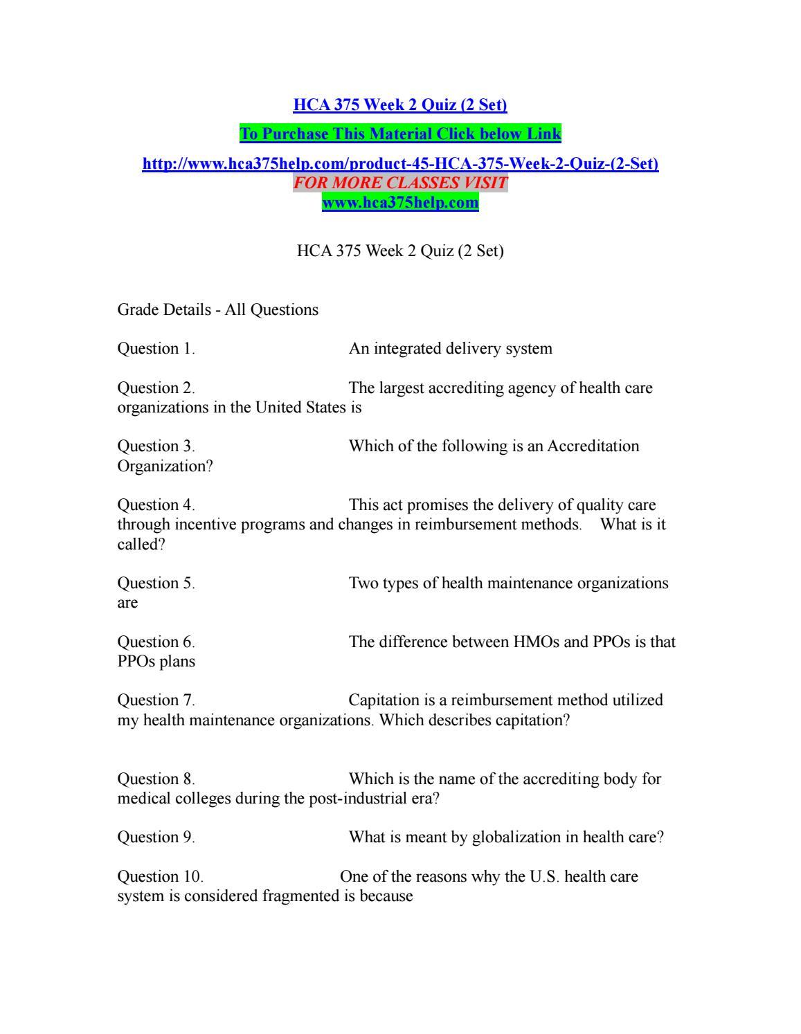 Hca 375 week 2 quiz (2 set) by kelvinmanase59 - issuu