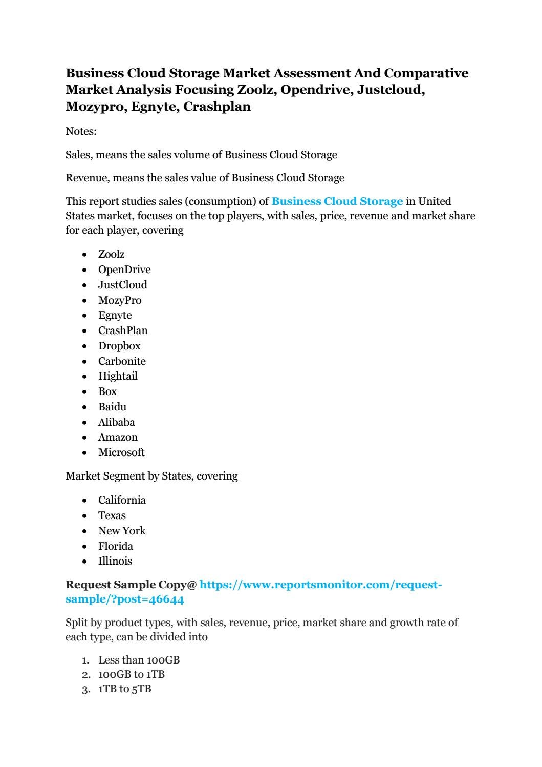 Business cloud storage market assessment and comparative market