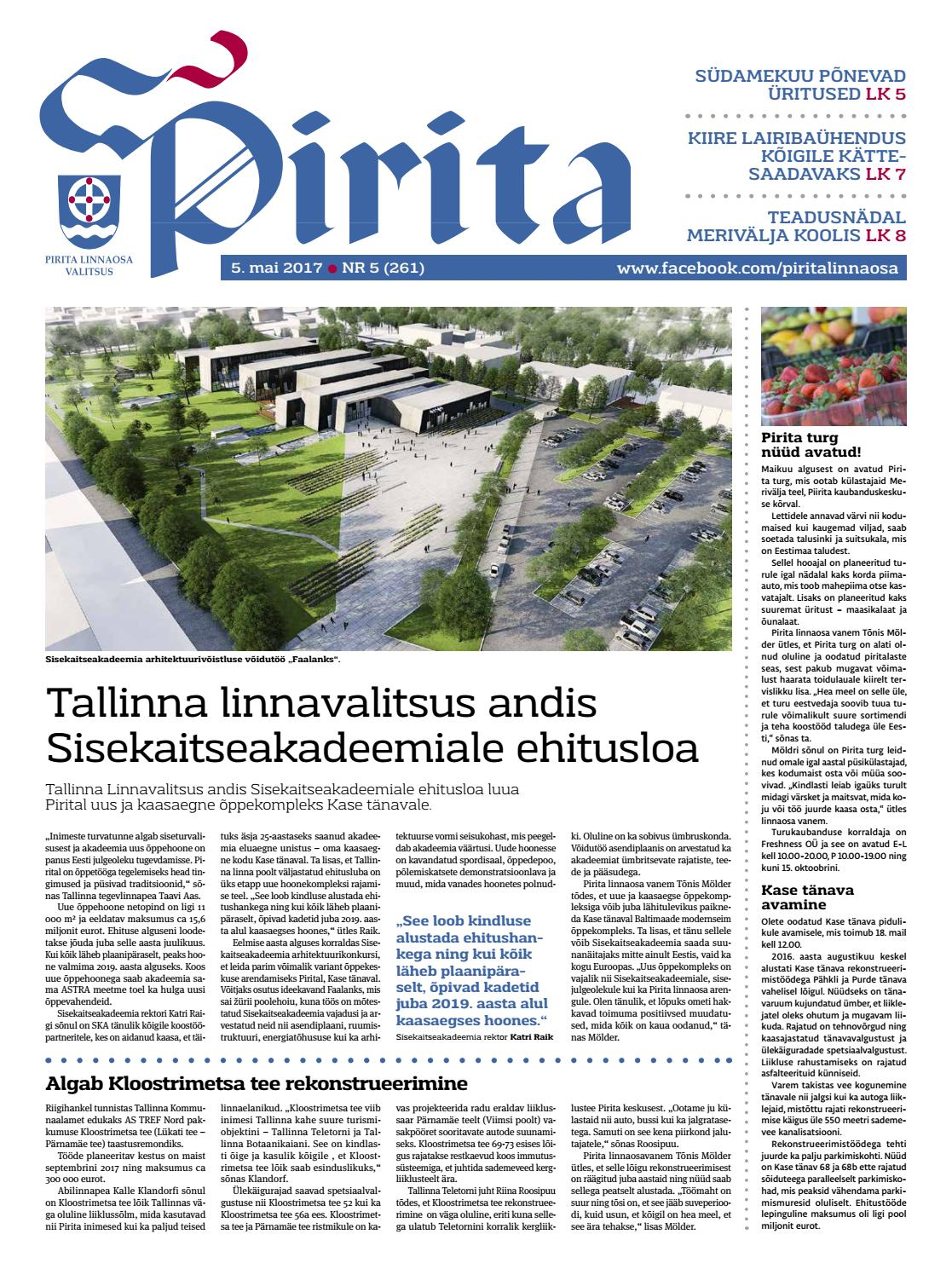 befcf476003 Pirita ajaleht mai 2017 by Piritalinnaosavalitsus - issuu