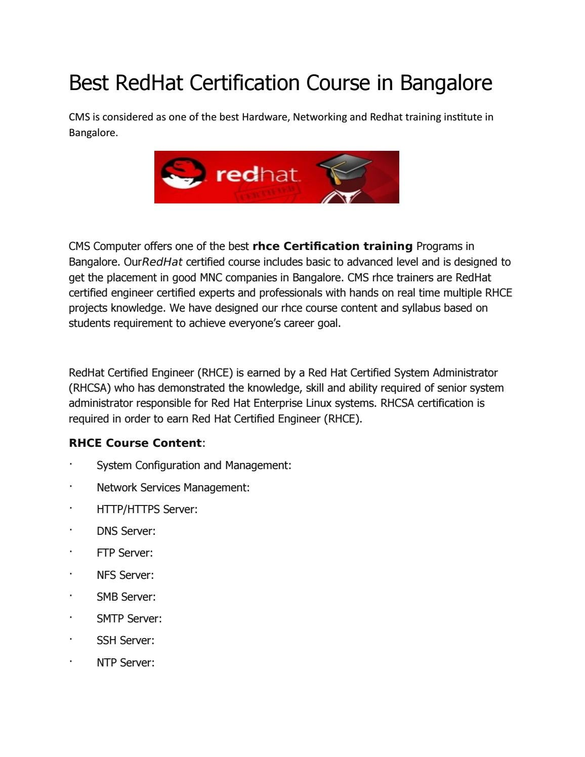 Best Redhat Certification Course In Bangalore By Cyber Metric