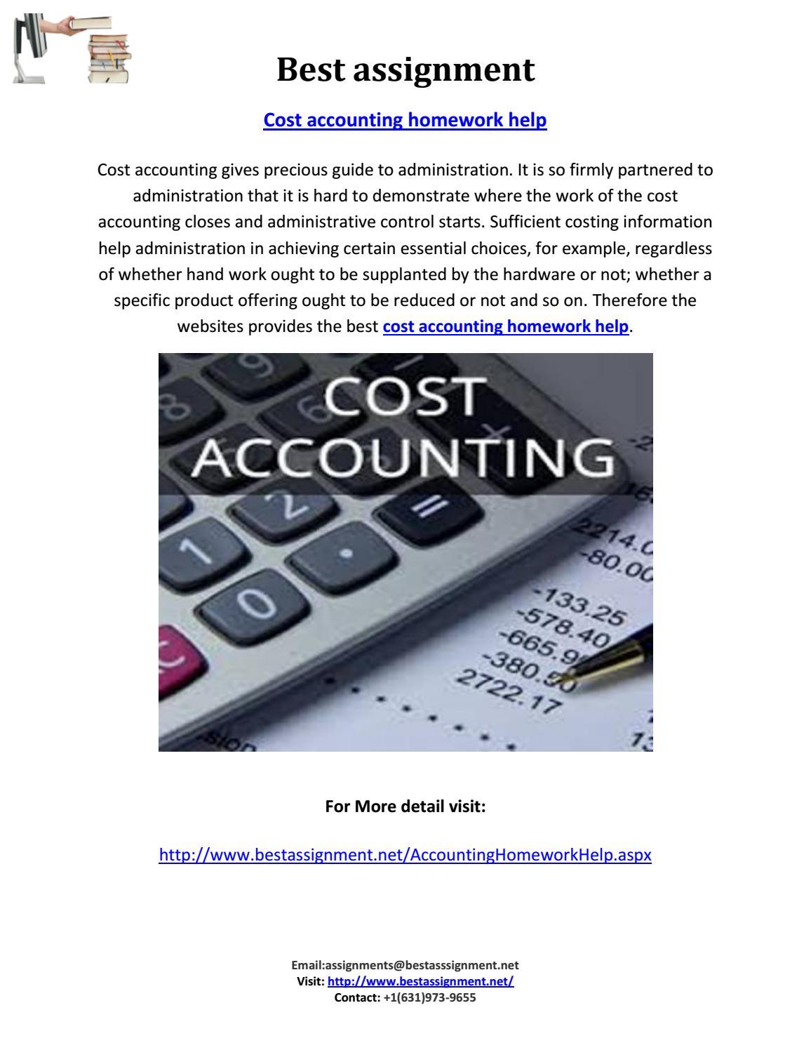Cost Accounting Homework & Assignment help | My Homework Help