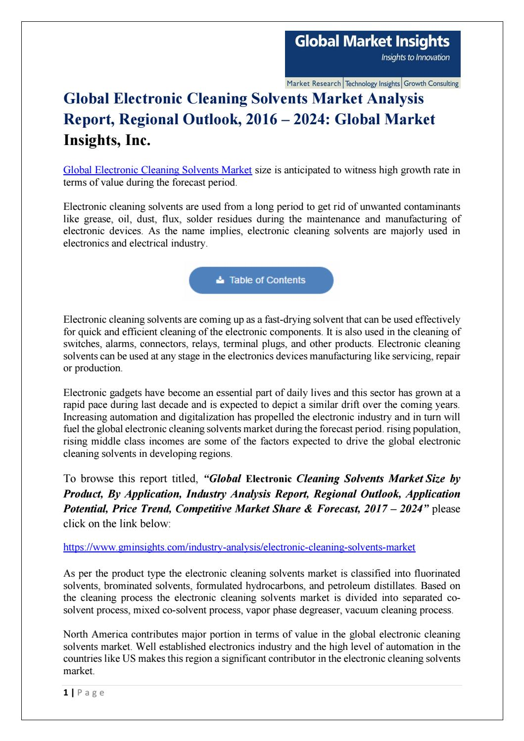 Global Electronic Cleaning Solvents Market Analysis Report, Regional