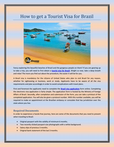 How To Get A Tourist Visa For Brazil By Touristvisaservices Issuu
