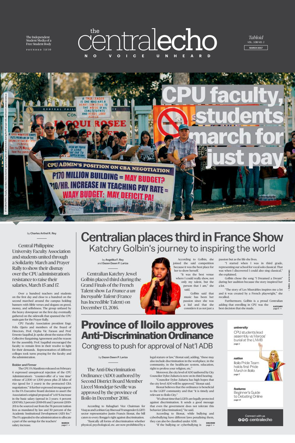 The Central Echo - Tabloid March 2017 by The Central Echo