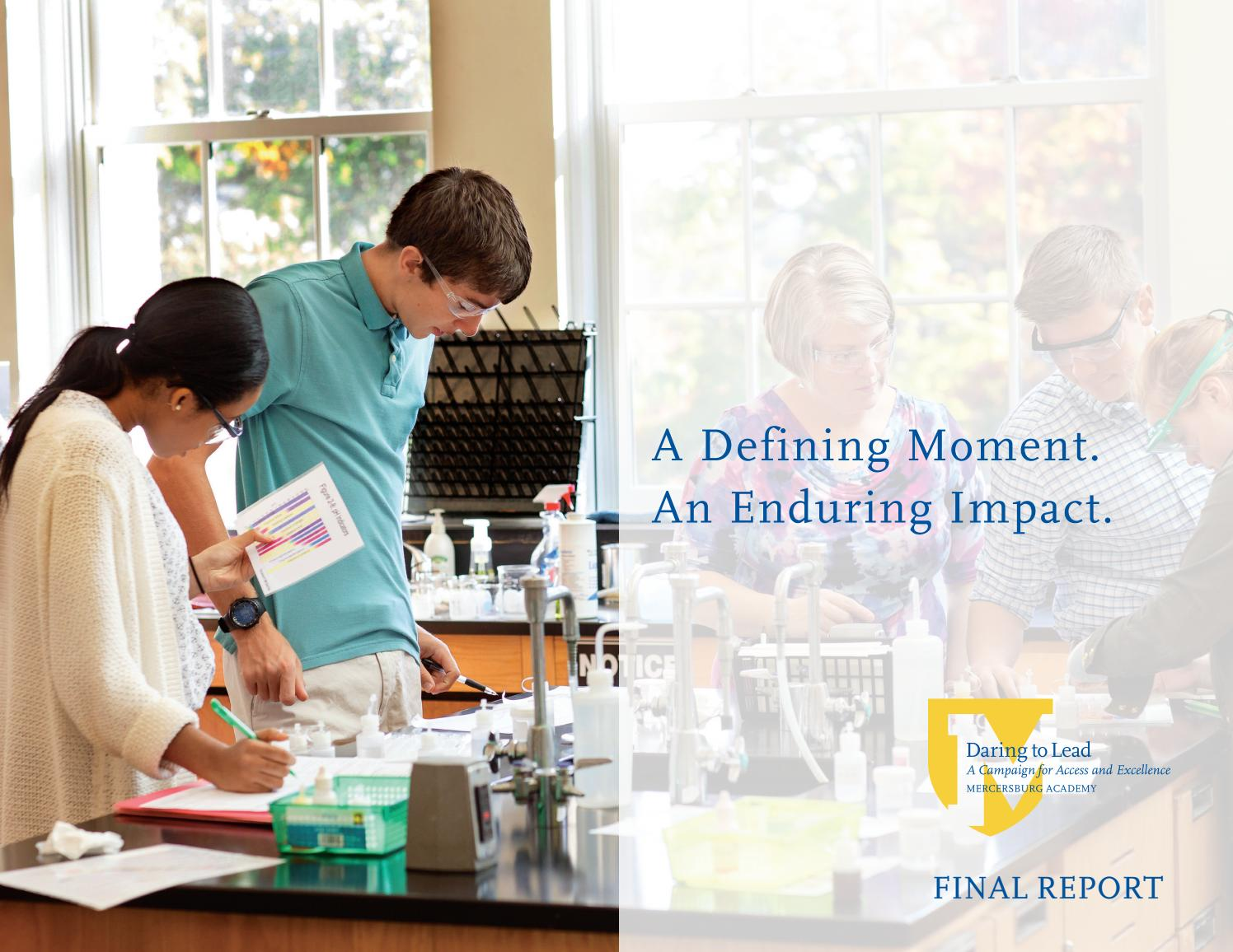 Daring To Lead Campaign Final Report By Mercersburg Academy Issuu
