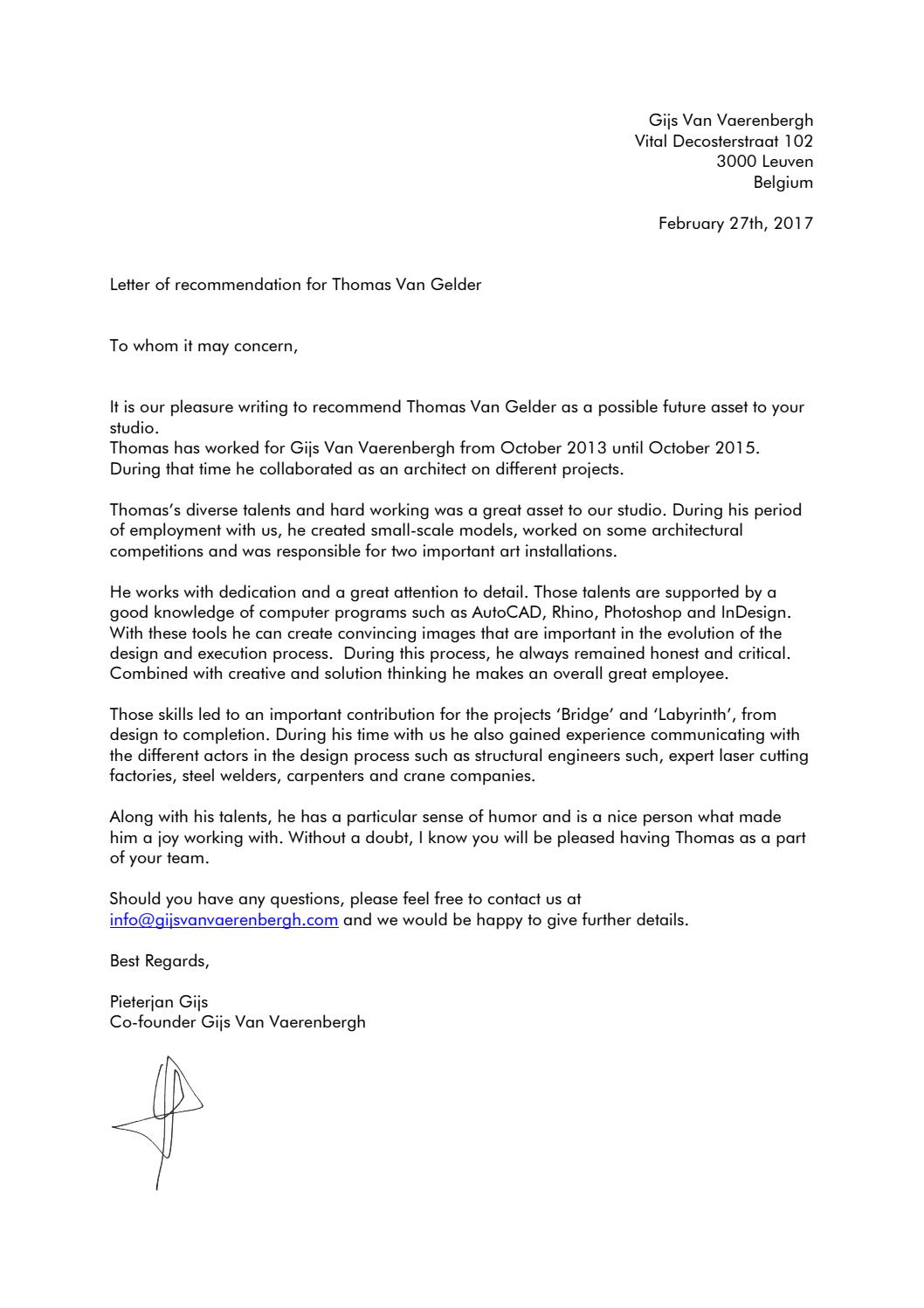 letter of recommendation thomas van gelder by thomas van