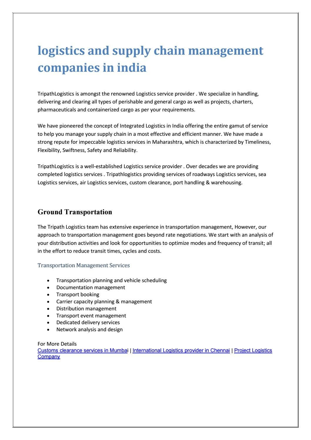 Logistics and supply chain management companies in india by