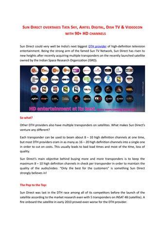 Sun Direct overtakes Tata Sky, Airtel Digital, Dish Tv