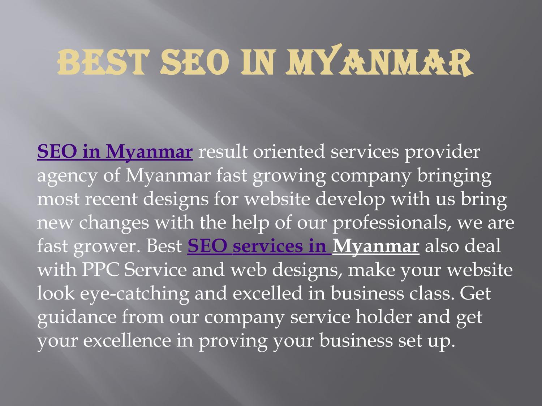 Find out best seo agency in myanmar