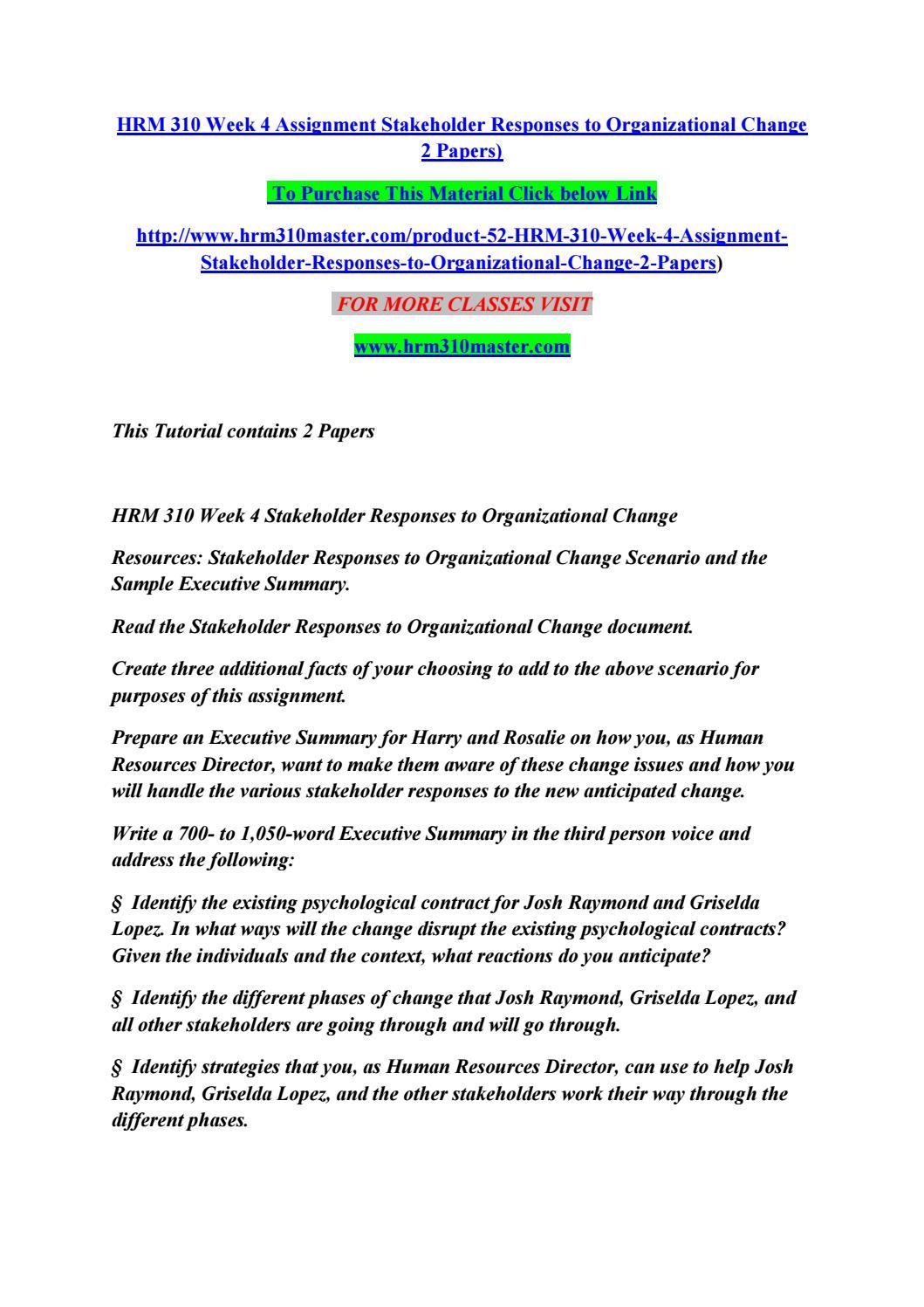 Organisational change 2 - Essay Example