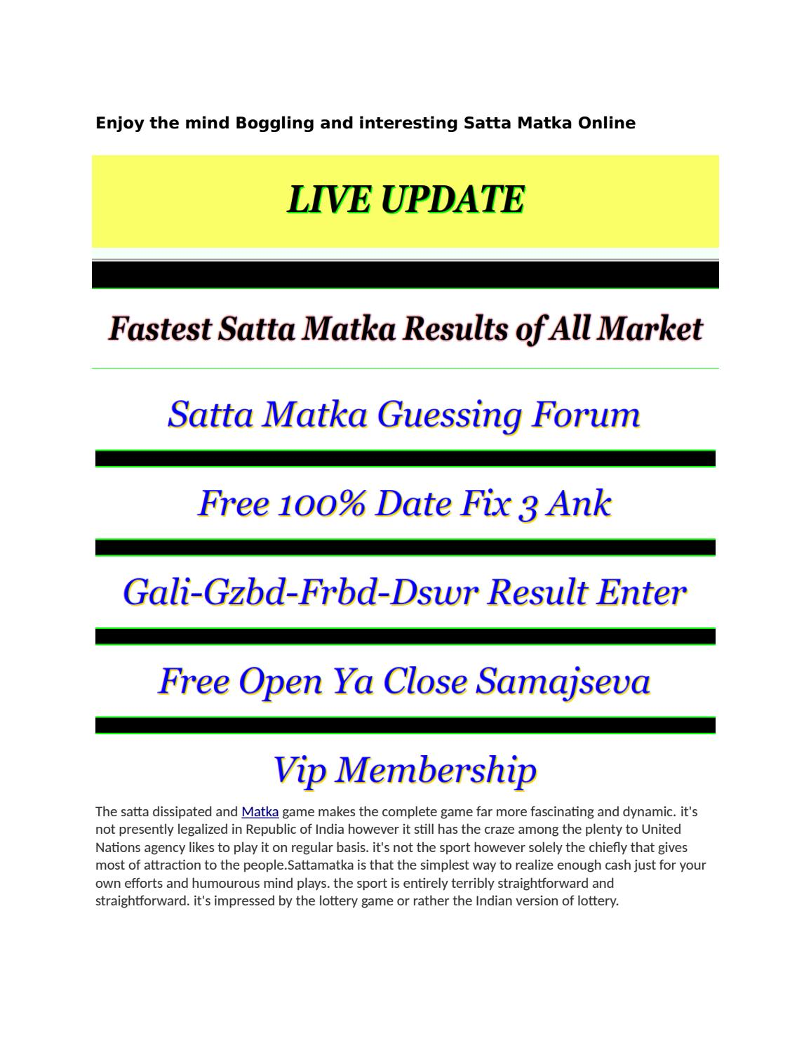 Vip satta  Satta King, VIP Forum, Black Xpress Satta ❽❽