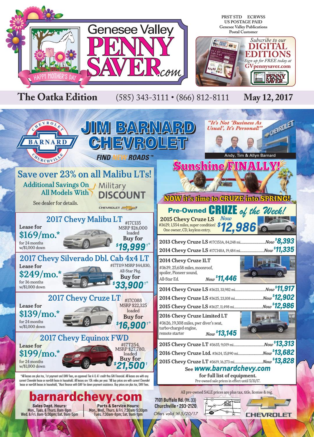 The Genesee Valley Penny Saver Oatka Edition 5/12/17 by Genesee ...