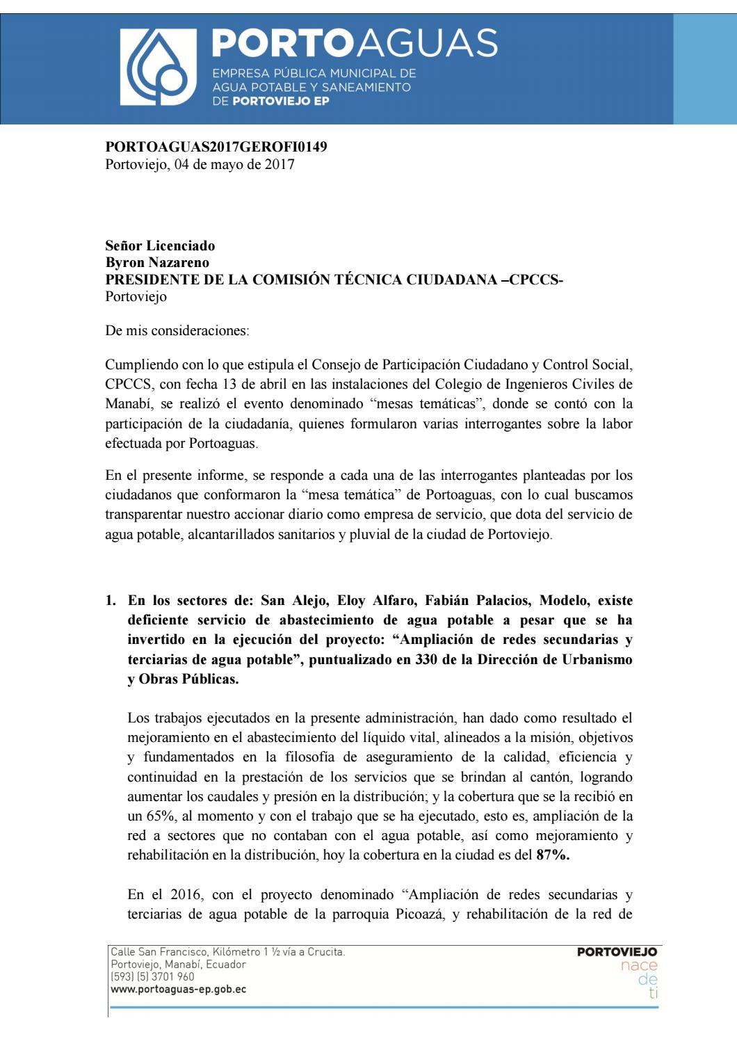 Informe Gerente by PORTOAGUAS - issuu