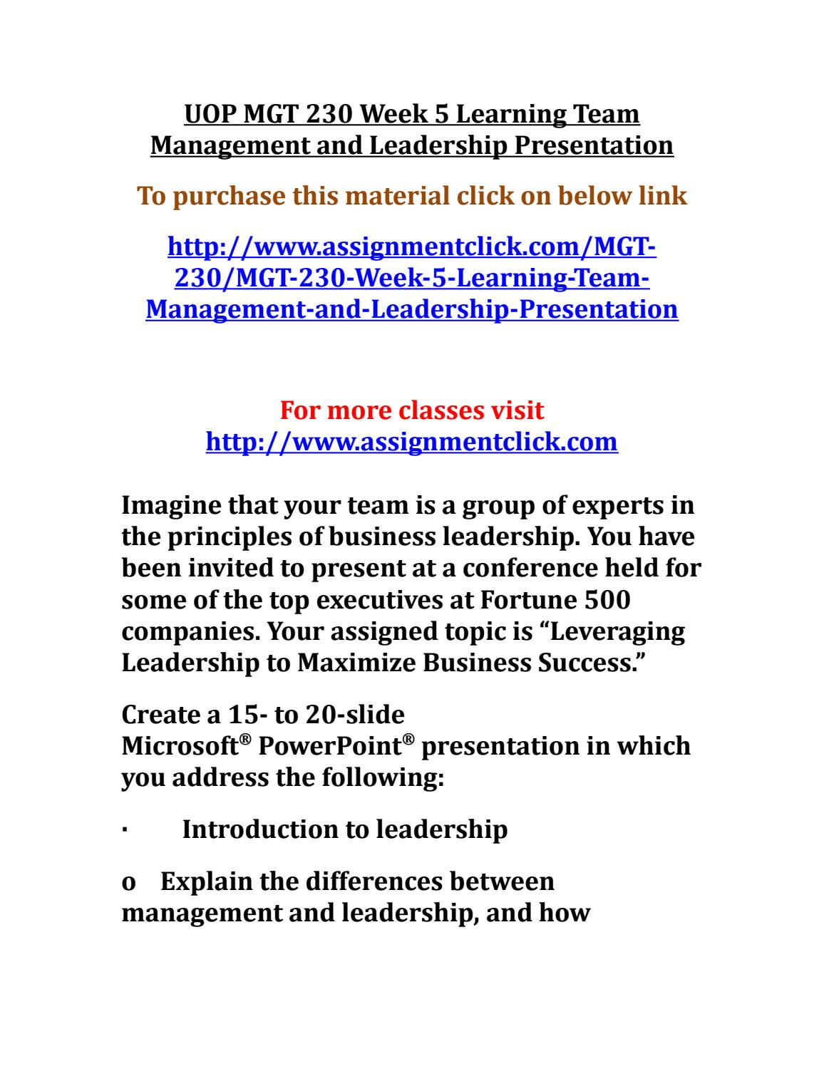 management and leadership presentation mgt 230 week 5 Description mgt 230 week 5 leadership theory analysis discussion summary mgt 230 week 5 leadership theory analysis discussion summary review vroom's model of leadership and fiedler's contingency model on pages 430-433 of the text.