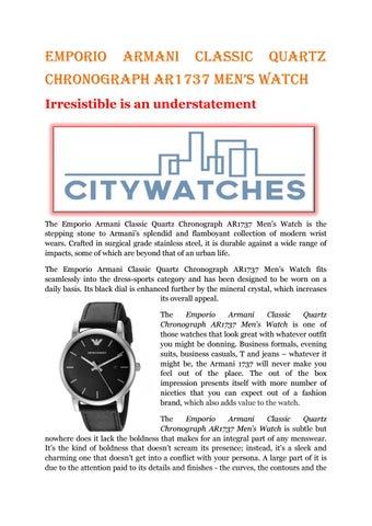e82397e609c8 Emporio armani classic quartz chronograph ar1737 men s watch