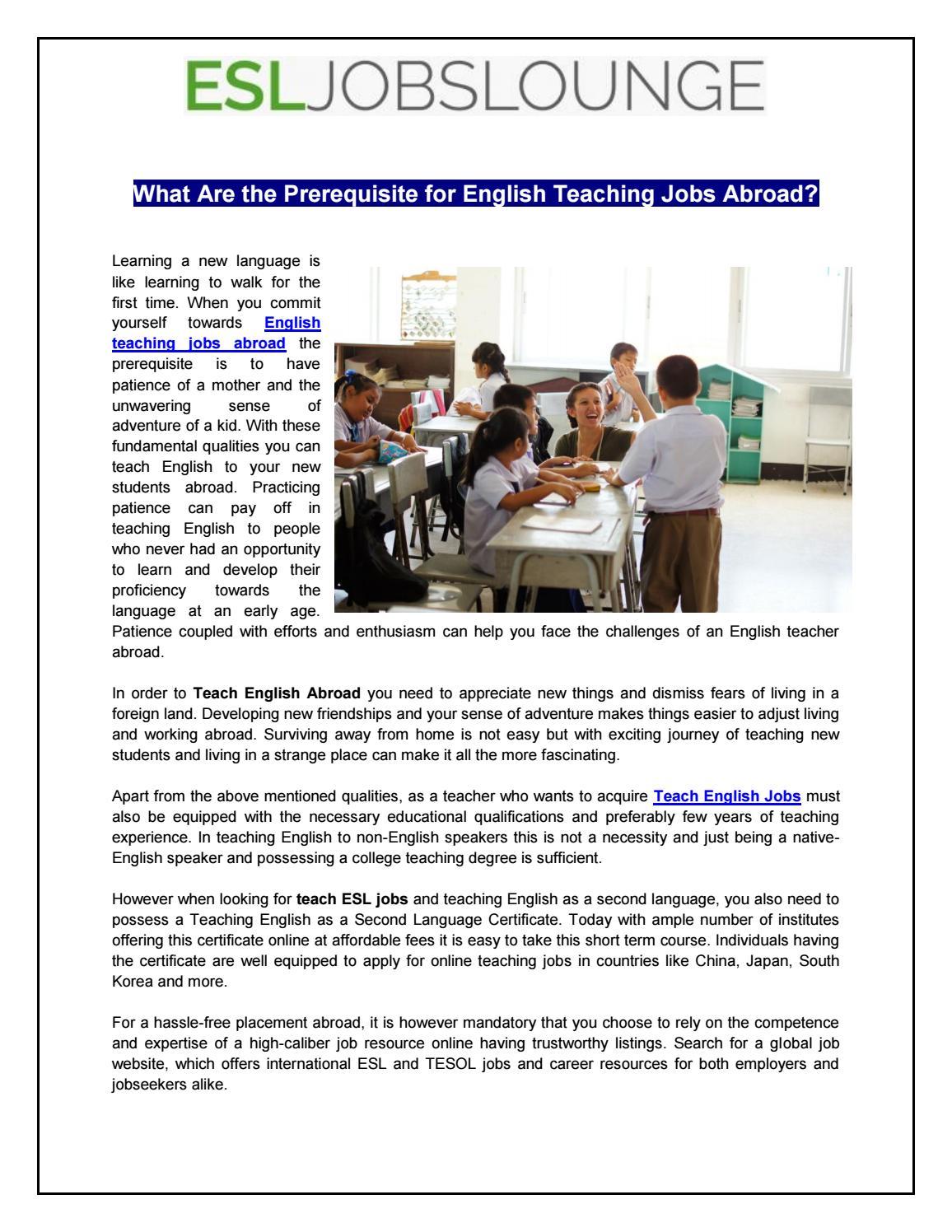 English teaching jobs abroad by Esljobs Lounge - issuu