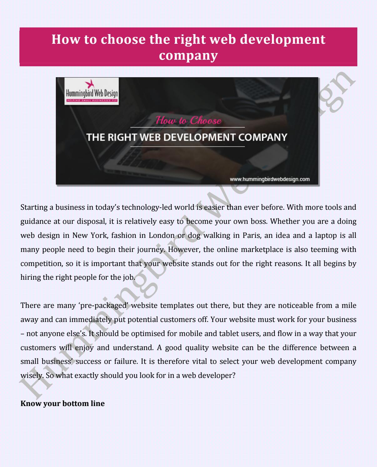 How To Choose The Right Web Development Company By Hummingbird Web