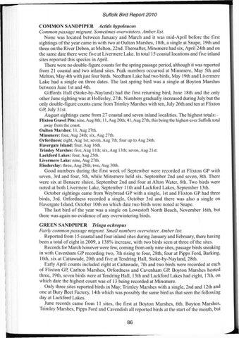 Suffolk Birds 2010 Part 2 by Suffolk Naturalists' Society