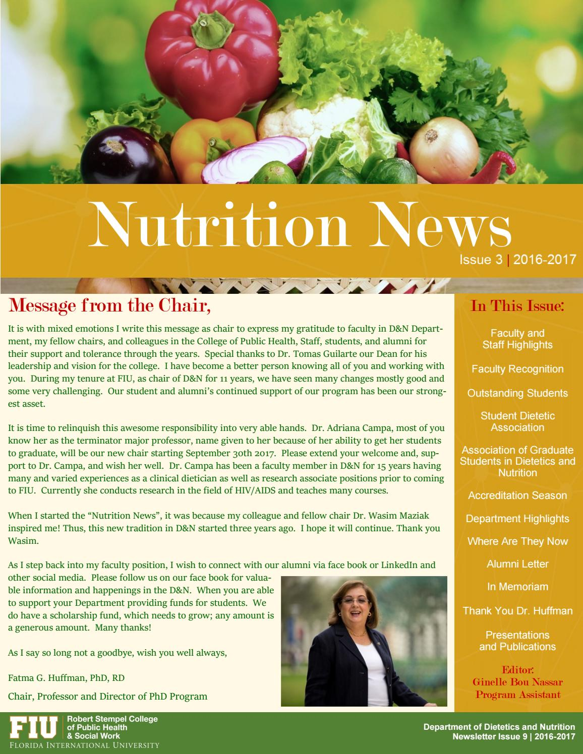 Fiu D N Newsletter By Department Of Dietetics And Nutrition Issuu