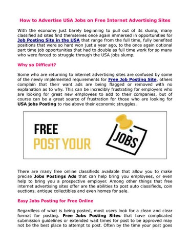 How to advertise usa jobs on free internet advertising sites