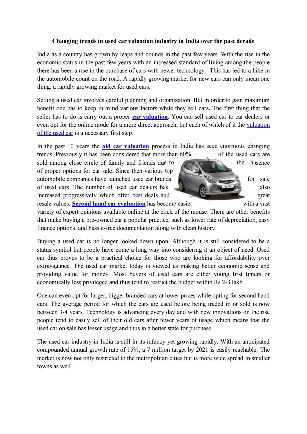 Changing Trends In Used Car Valuation Industry India Over The