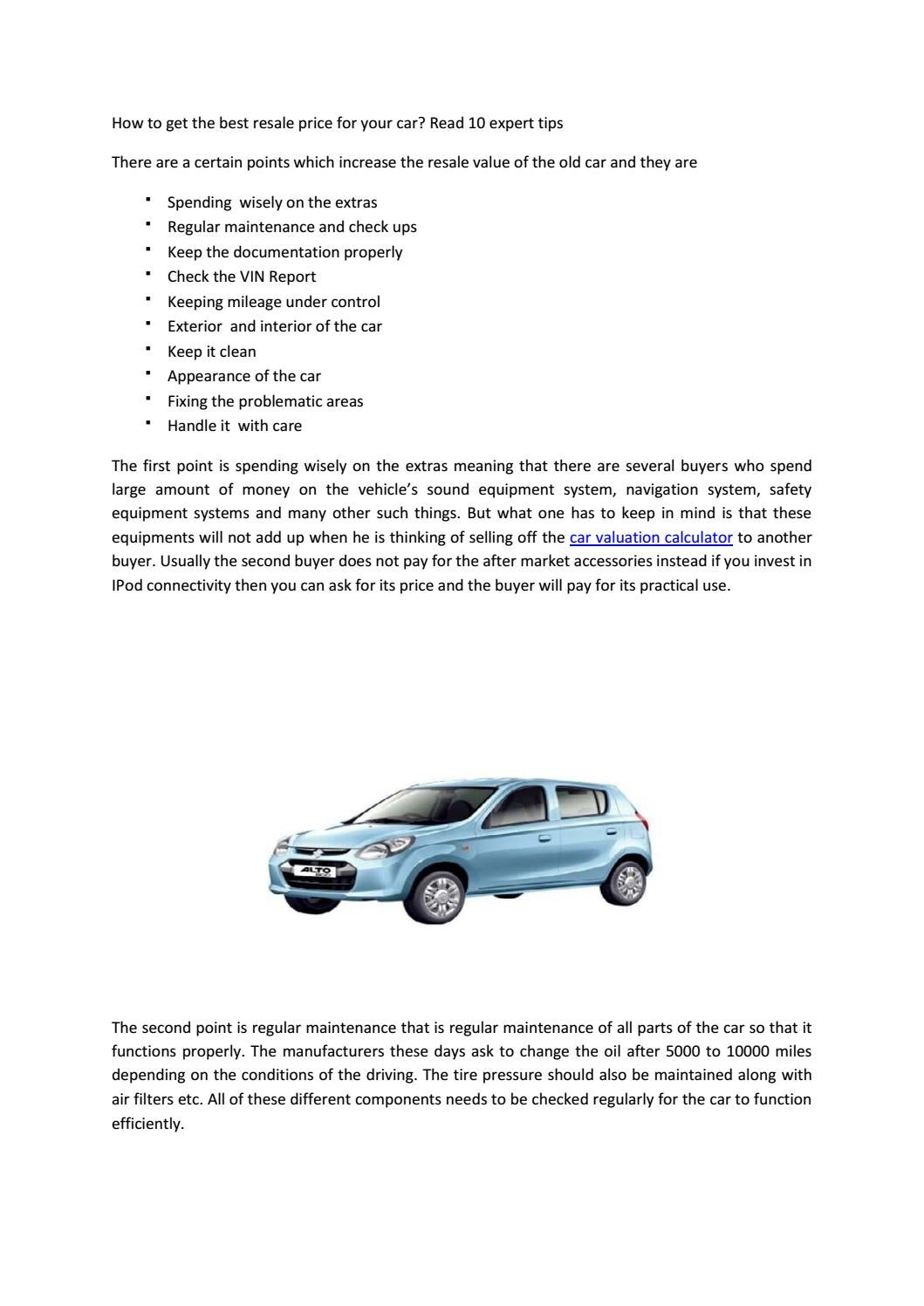 How To Get The Best Resale Price For Your Car By Indianbluebook Issuu