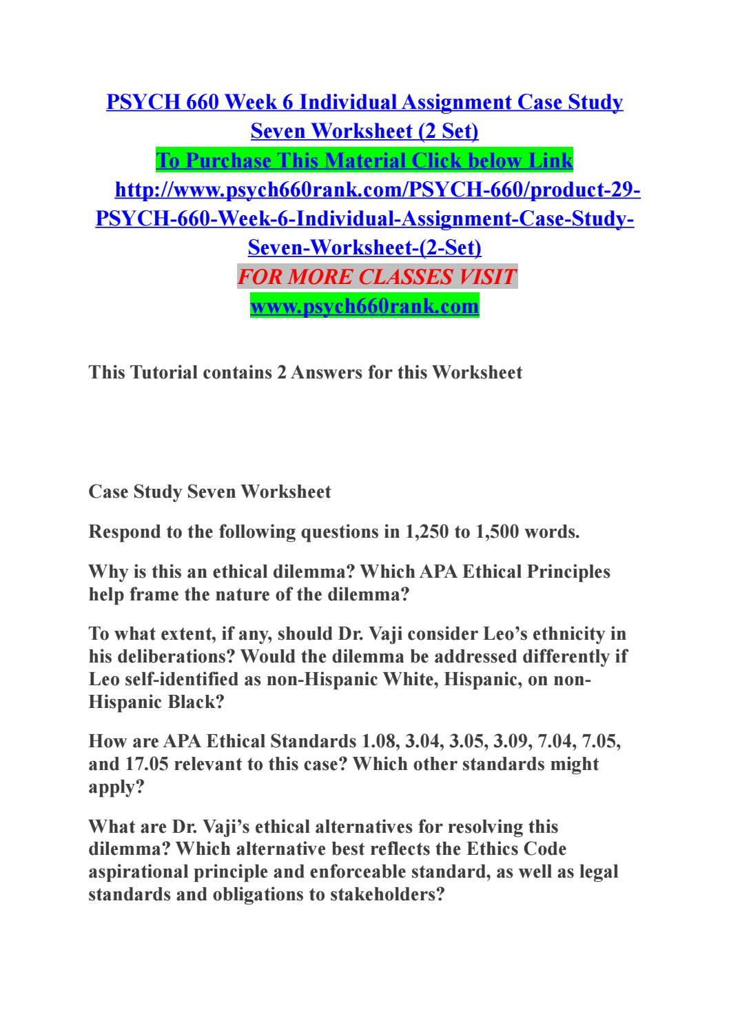 case study seven worksheet psych 660