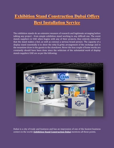 Exhibition Stand Installation : Exhibition stand construction dubai offers best installation