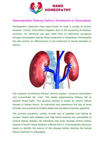 Homeopathic Kidney Failure Treatment In Ghaziabad By Nano Homeopathy Issuu