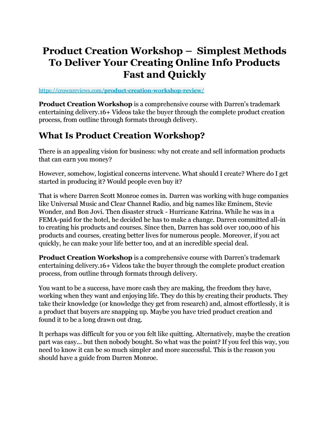 product creation workshop review and premium 14 700 bonus by