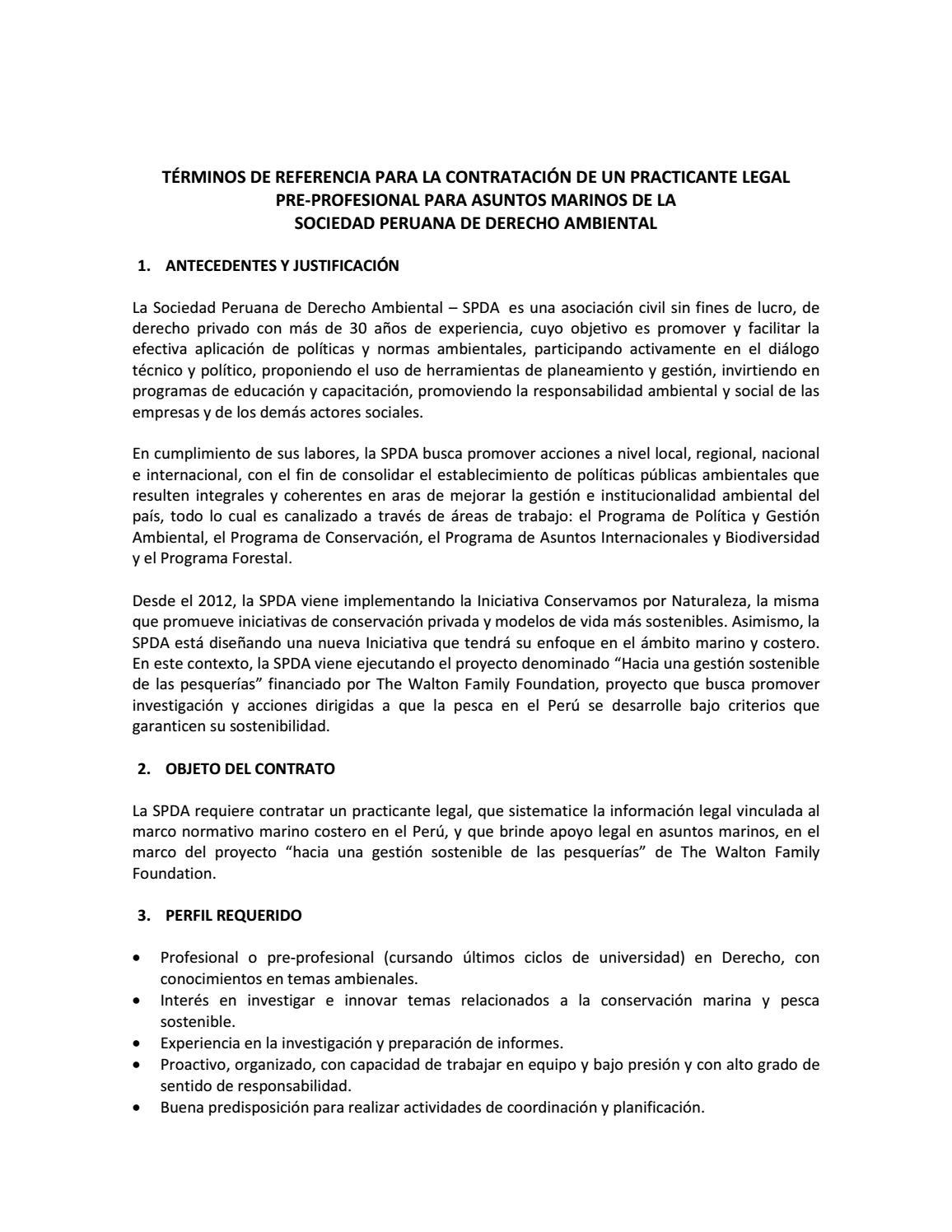 Tdr practicante legal en temas marinos by conservamos for Modelo contrato empleada de hogar 2015