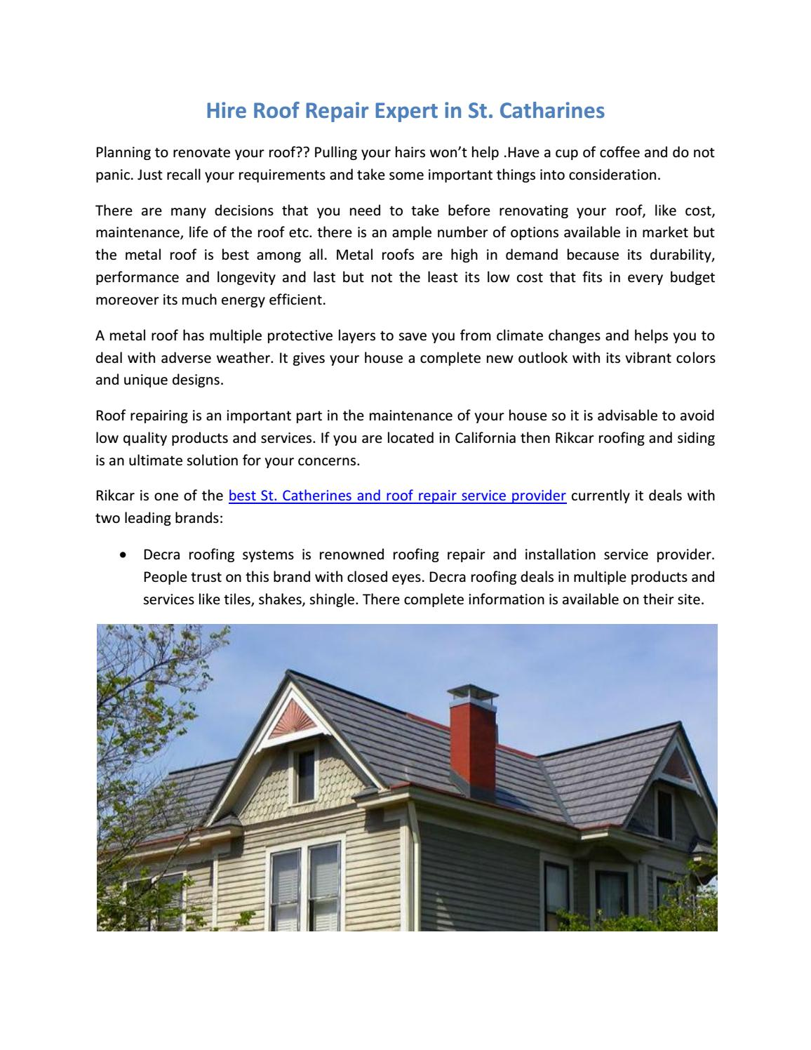 Hire Roof Repair Expert In St Catharines By Rikcar Issuu