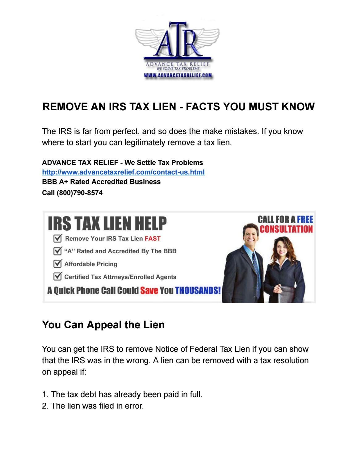 REMOVE AN IRS TAX LIEN - FACTS YOU MUST KNOW by NOAH DANIELS EA - issuu