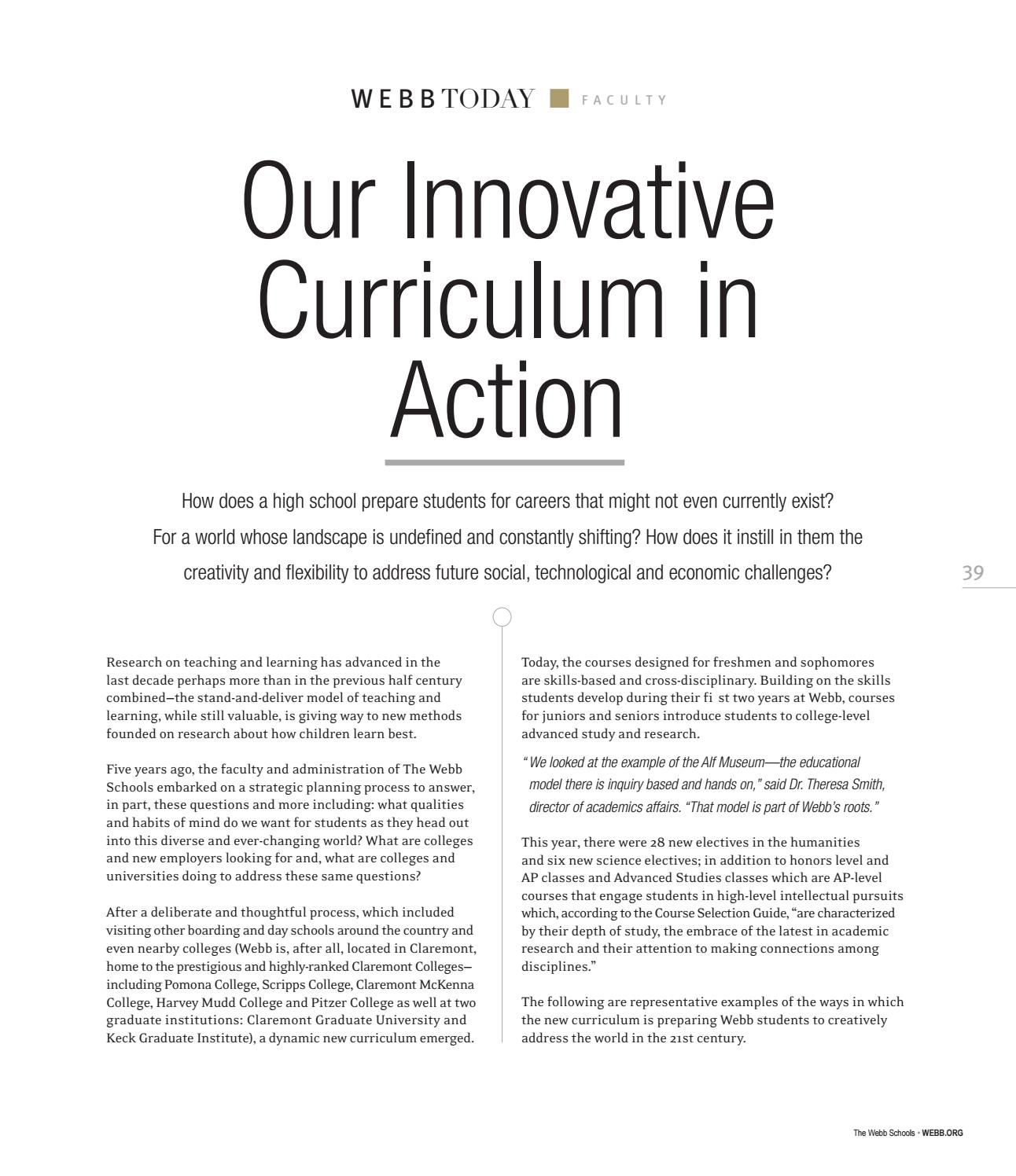 Our Innovative Curriculum In Action The Webb Schools By The Webb