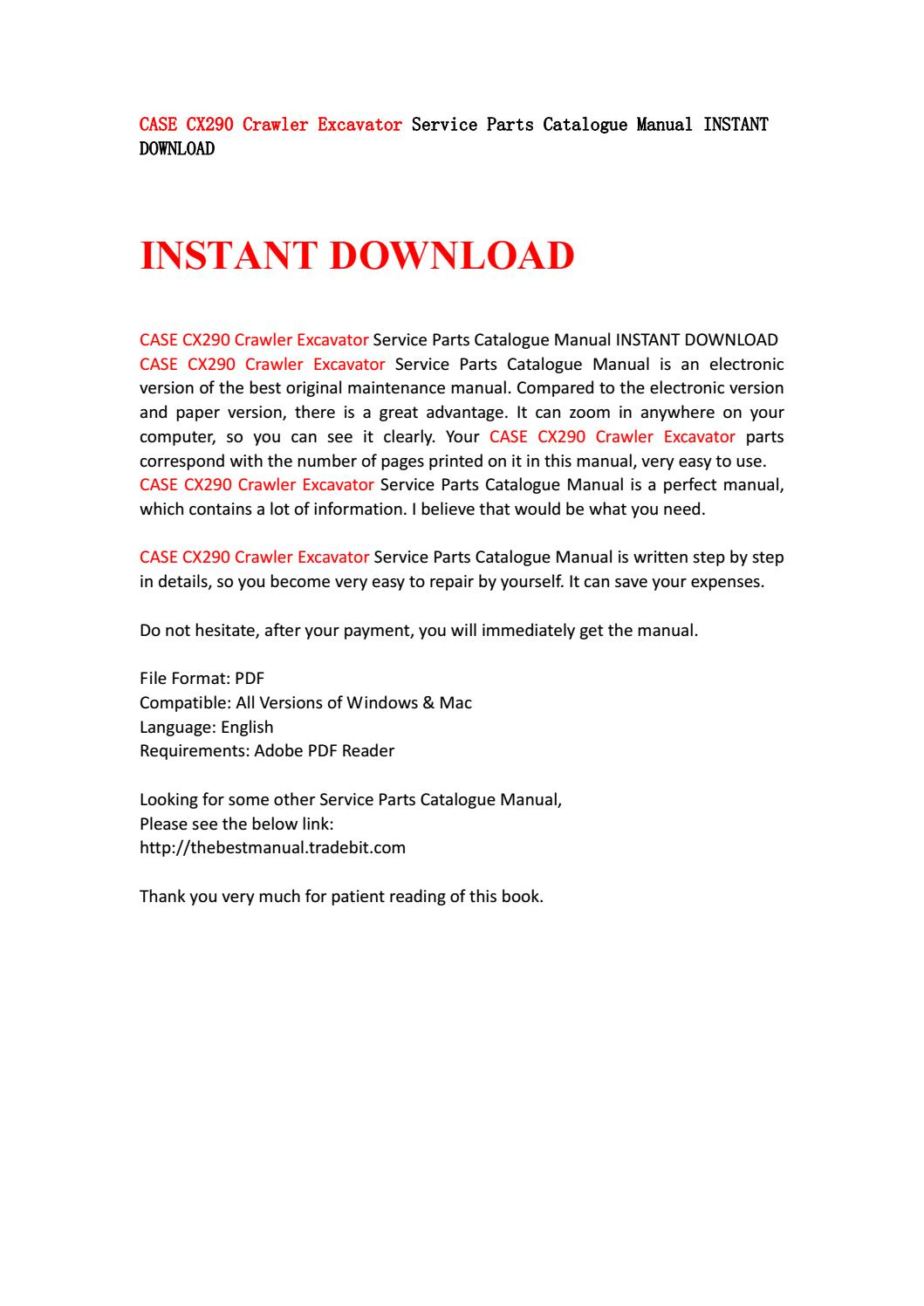 Case cx290 crawler excavator service parts catalogue manual instant  download by kjjsemfmse - issuu