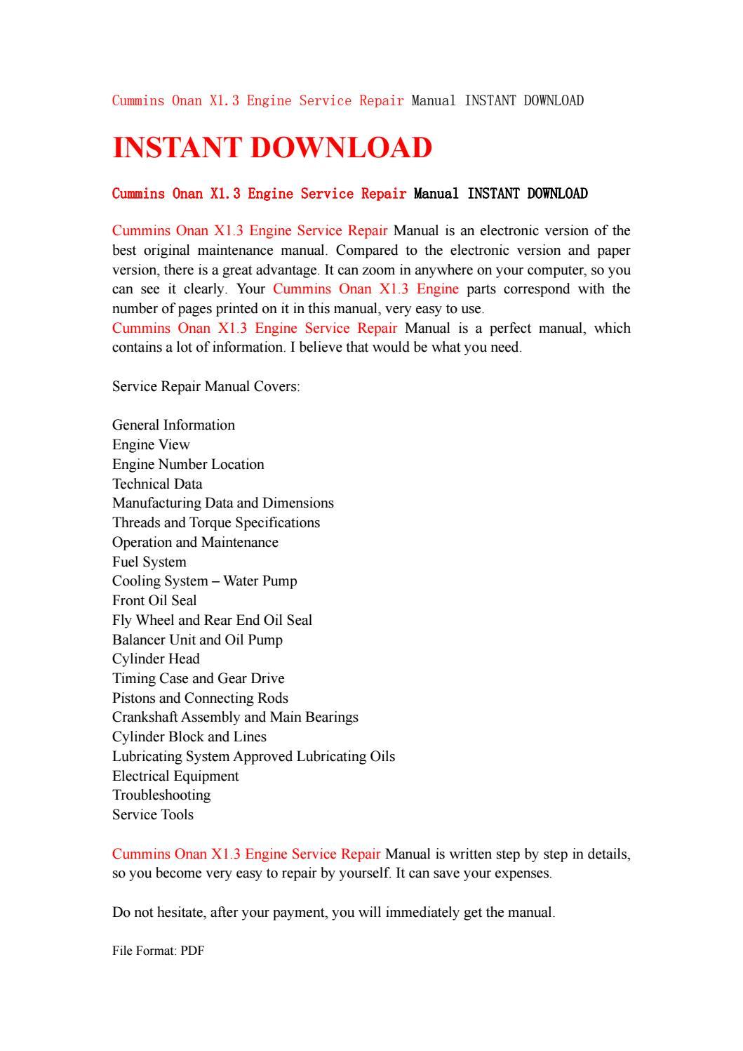 Cummins onan x1 3 engine service repair manual instant download by  kjjsemfmse - issuu