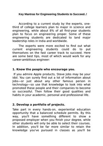 Key mantras for engineering students to succeed ! by Shree