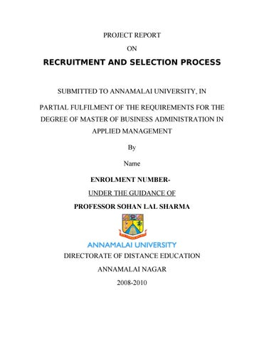50673202 project on recruitment and selection process by