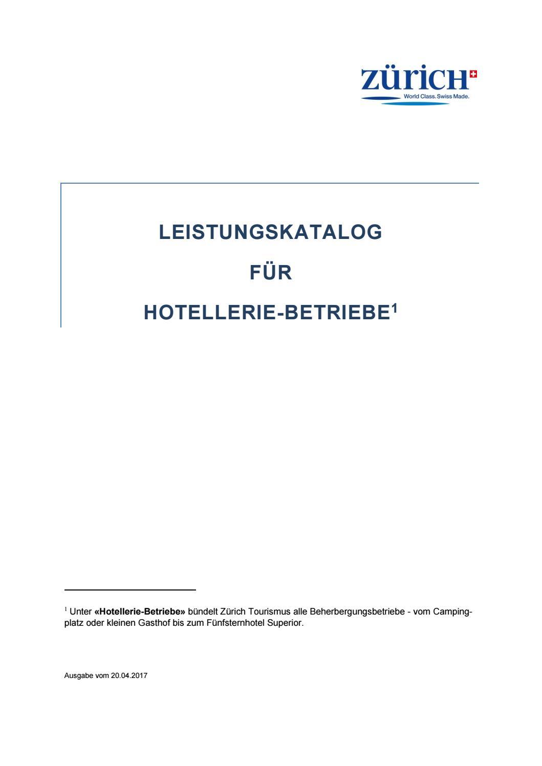 Leistungskatalog Hotellerie Betriebe By Zürich Tourismus Issuu