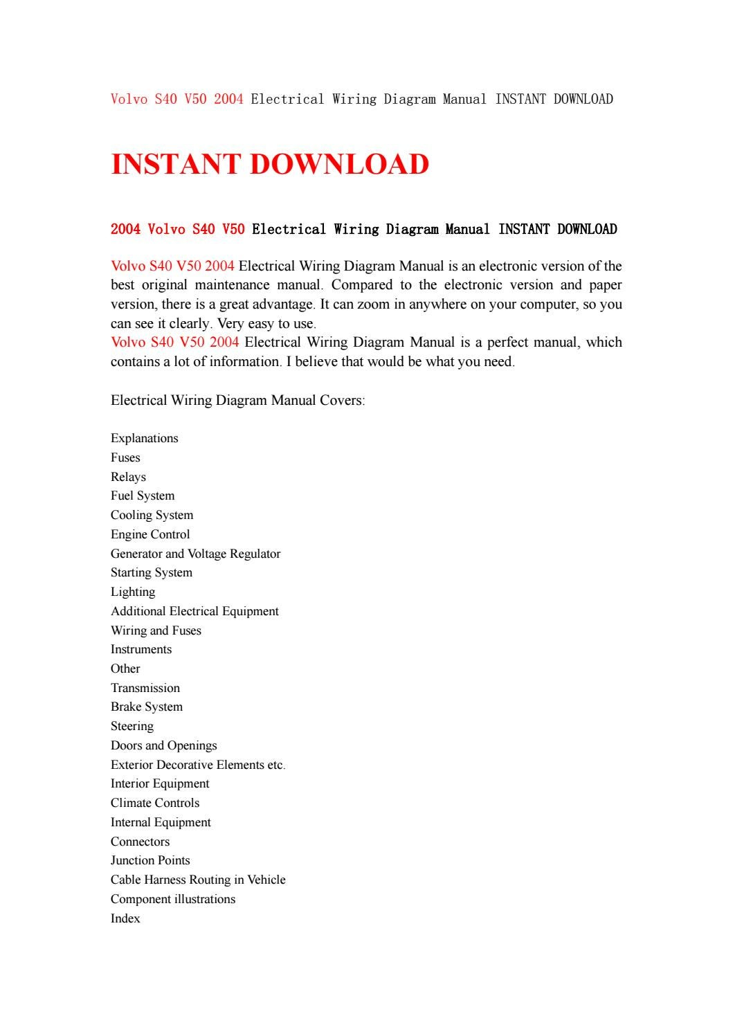 Volvo s40 v50 2004 electrical wiring diagram manual instant download by  kjjsemfmse - issuu