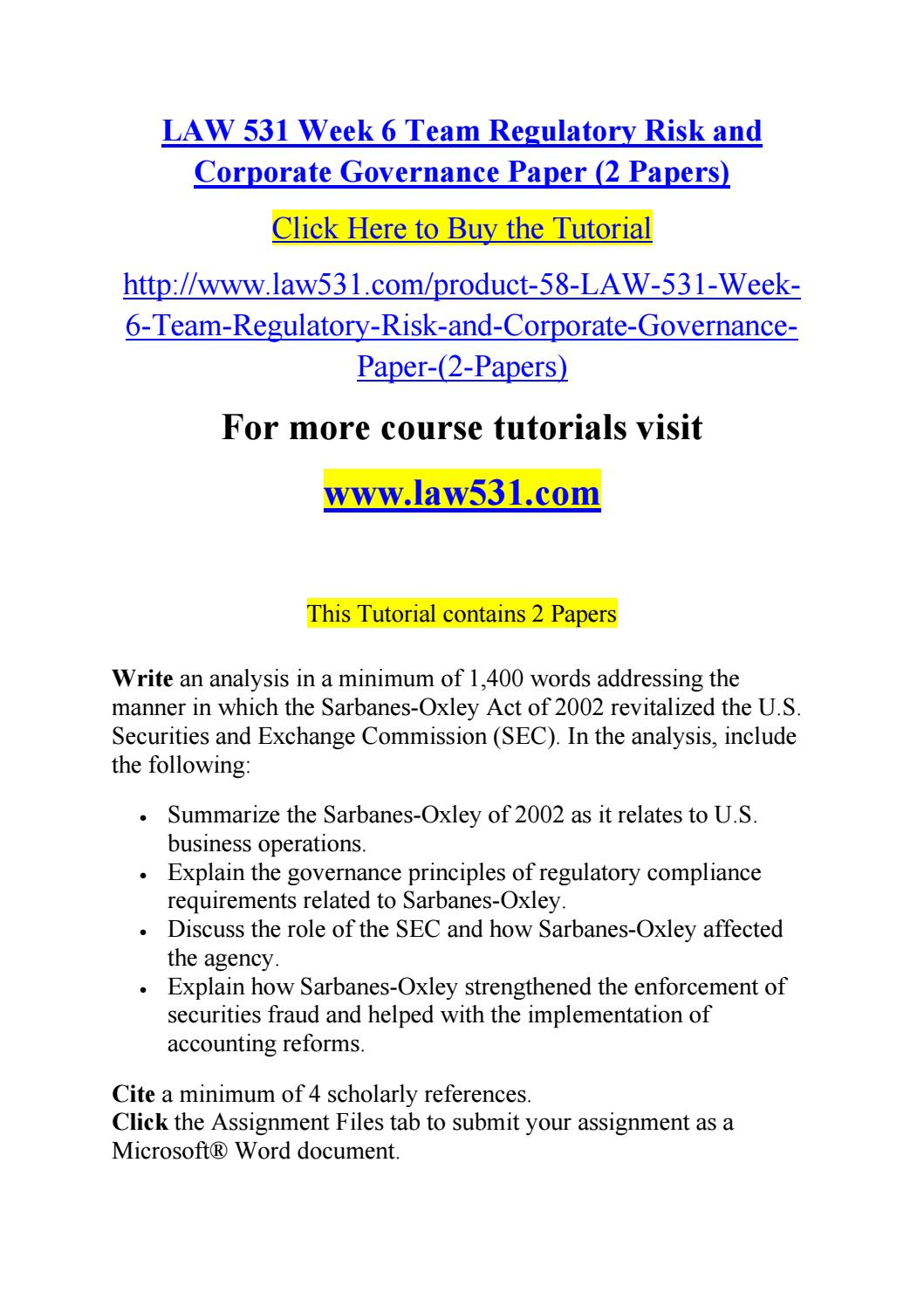 Law 531 Week 6 Team Regulatory Risk And Corporate Governance Paper