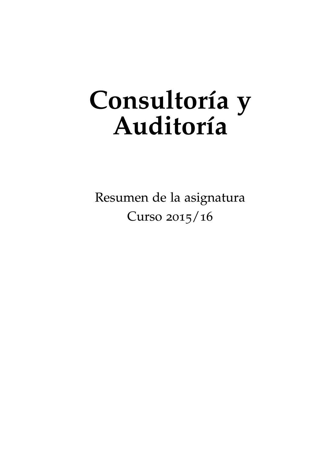 Consultoría y auditoría resumen by arrobaforma - issuu