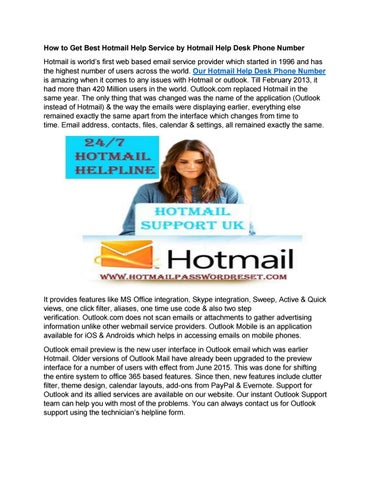 How To Get Best Hotmail Help Service By Desk Phone Number Is Worldâ X20ac X2122 S First Web Based Email Provider Which